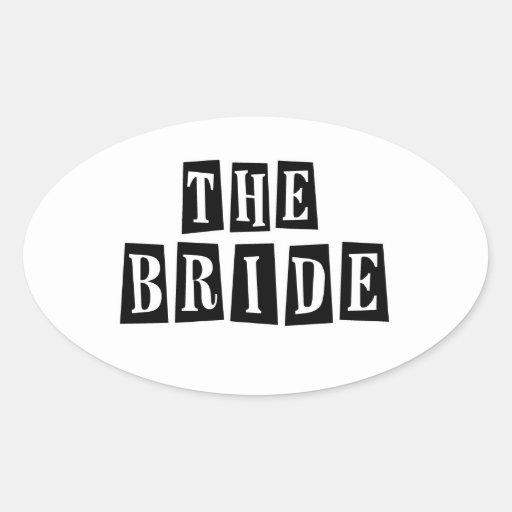 B&W Retro Stamp - The Bride Stickers