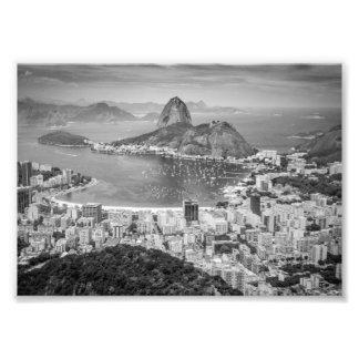 B&W Rio de Janeiro aerial view Photo Print