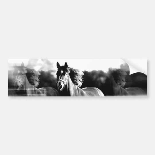 B&W Running Horse Bumper Sticker