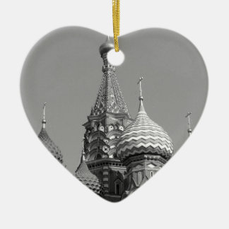 B&W Saint Basil's Cathedral Ceramic Heart Decoration