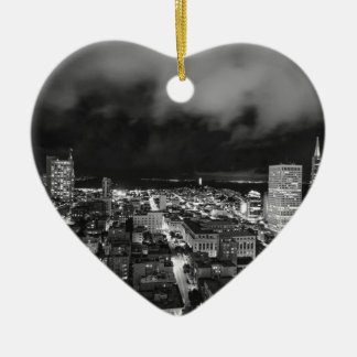 B&W San Francisco 2 Ceramic Heart Decoration