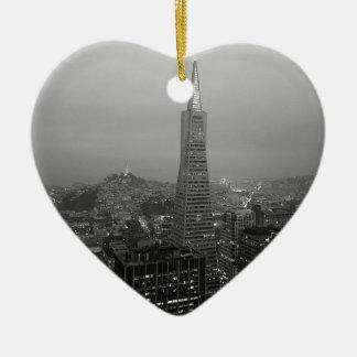B&W San Francisco Downtown Ceramic Heart Decoration