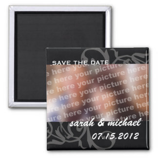 B&W save the date wedding announcement photo Square Magnet