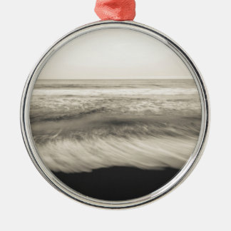 B&W seascape, Hawaii Silver-Colored Round Decoration