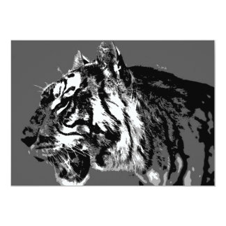 "B&W Siberian Tiger Invitation 5"" X 7"" Invitation Card"