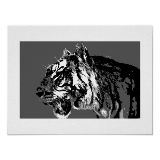 B&W Siberian Tiger Pop Art Poster Print