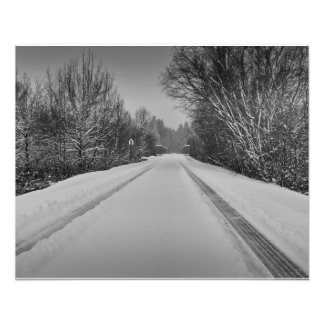 B/W snowy trail Photo Print