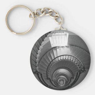 B&W spiral lighthouse staircase Key Ring