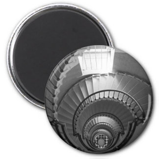 B&W spiral lighthouse staircase Magnet