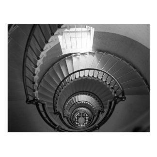 B&W spiral lighthouse staircase Postcard