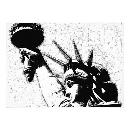 B&W Statue of Liberty Invitation