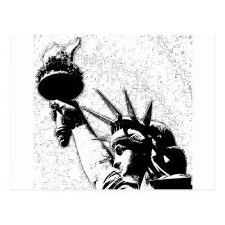 B&W Statue of Liberty Postcard
