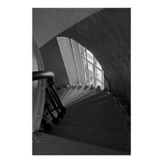 B&W steep stairs going down Poster