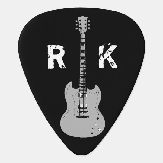 b&w, stylish & cool, name & initials plectrum