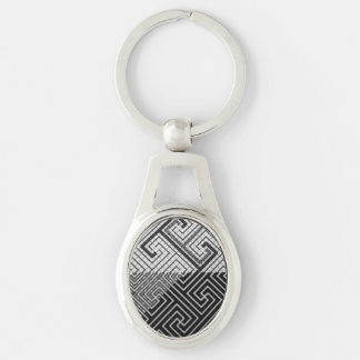 B&W Texture Oval Keychain Silver-Colored Oval Key Ring