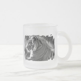 B&W Tiger Profile Photo Frosted Glass Coffee Mug