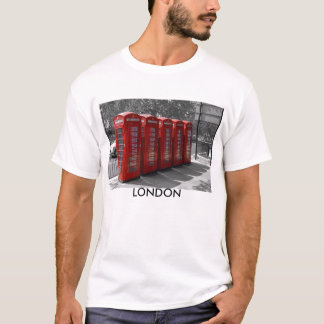 B/W Tinted Red London Telephone Boxes T-shirt