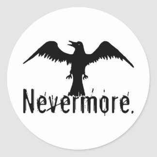 B&W Tribal Raven Nevermore Classic Round Sticker