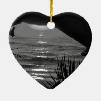 B&W Tropical Sea Ceramic Heart Decoration