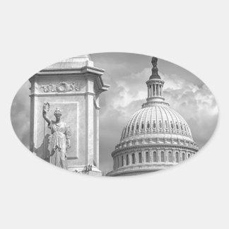 B&W Washington DC Oval Sticker