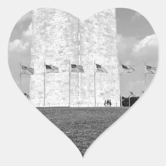 B&W Washington Monument Heart Sticker