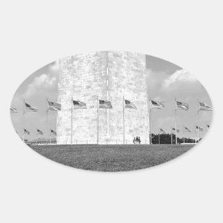 B&W Washington Monument Oval Sticker