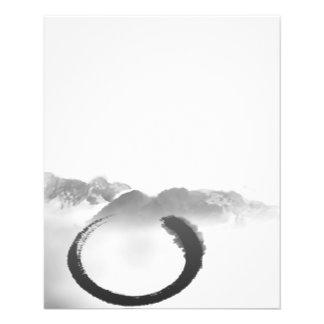 B&W Watercolor Tranquil Mountains Zen Enso 11.5 Cm X 14 Cm Flyer