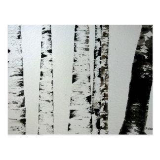 B&W Watercolor Trees Post Card