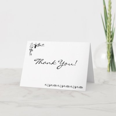 BW Wedding Thank You Card by slinky789