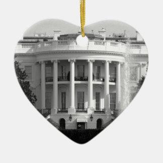 B&W White House Ceramic Heart Decoration