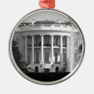 B&W White House Silver-Colored Round Decoration