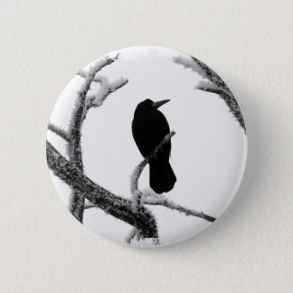 B&W Winter Raven Edgar Allan Poe 6 Cm Round Badge