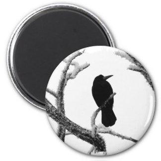 B&W Winter Raven Edgar Allan Poe 6 Cm Round Magnet