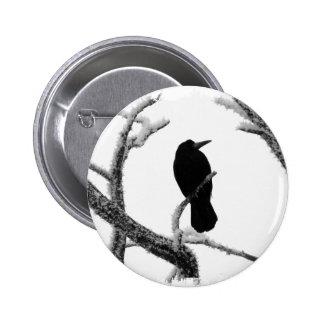 B&W Winter Raven Edgar Allan Poe 6 Cm Round Badge