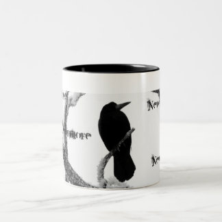 B&W Winter Raven Edgar Allan Poe Nevermore Two-Tone Mug