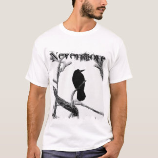 B&W Winter Raven Edgar Allan Poe Nevermore T-Shirt