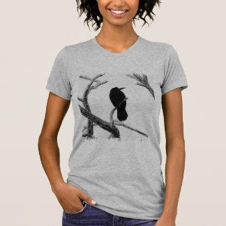 B&W Winter Raven Edgar Allan Poe T-Shirt
