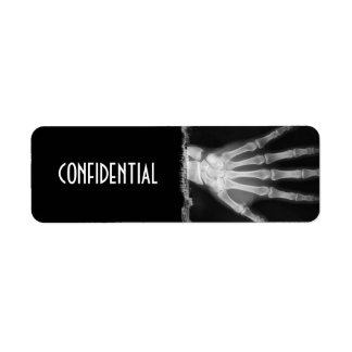 B&W X-ray Skeleton Hand CONFIDENTIAL Labels