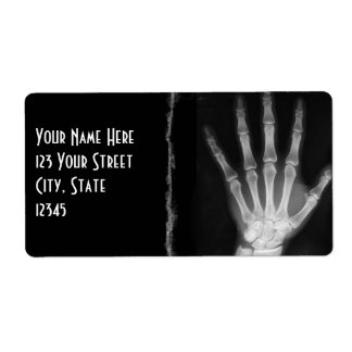 B&W X-ray Skeleton Hand Return Address Labels
