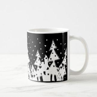 b w Xmas town_mug Coffee Mug