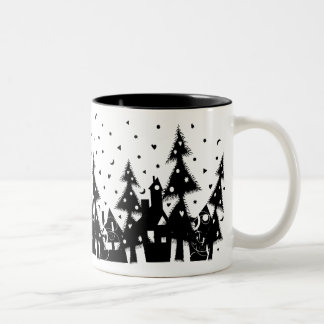 b w Xmas town_mug Mug