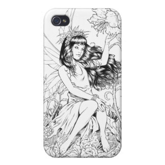 B&W Young Fairy with Flowers by Al Rio iPhone 4/4S Cases