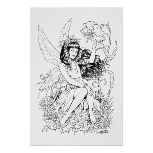 B&W Young Fairy with Flowers by Al Rio Print
