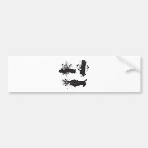 B&Wgrungeswirls Bumper Stickers