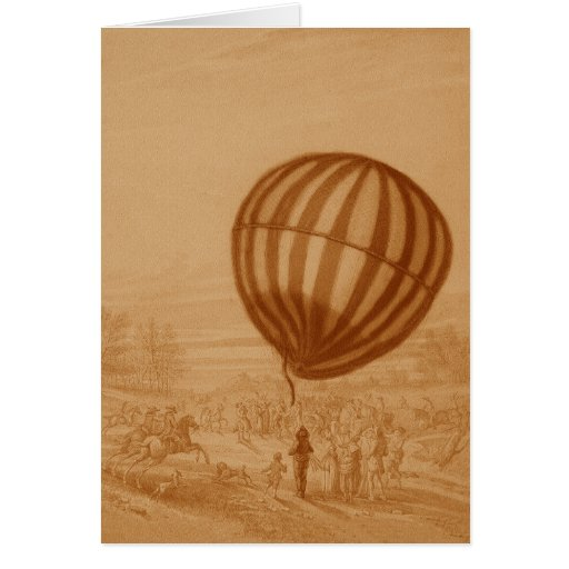 BA02285FAC01Z-First Manned Gas Balloon Flight Land Greeting Cards