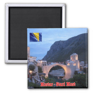 BA - Bosnia and Herzegovina - Mostar Stari Most Square Magnet