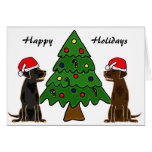 BA- Chocolate and Black Labrador Christmas Cards