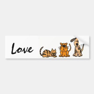 BA- Dogs and Cats Love Bumber Sticker Bumper Sticker