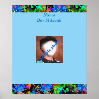 Ba Mitzvah Neon Paint SPhoto Sign in Board Poster