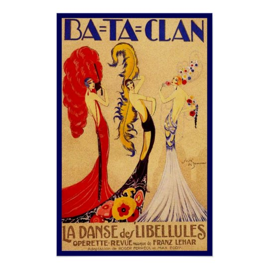 Ba-Ta-Clan Operette Vintage French Theatre Ads Poster